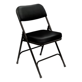 3200 Series Vinyl Upholstered Folding Chair - Black