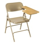 5200 Series Steel Folding Chair w/ Tablet Arm - Beige frame w/ oak tablet arm
