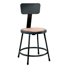 "6200-10 Black Stool w/ Backrest - Fixed Height (18"" H)"