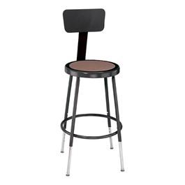 "6200-10 Black Stool w/ Backrest - Adjustable Height (19\"" - 27\"" H)"