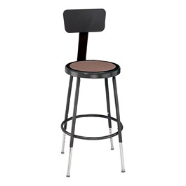 "6200-10 Black Stool w/ Backrest - Adjustable Height (19"" - 27\"" H)"