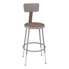 "6200 Stool w/ Backrest – Adjustable Height (19"" - 27\"" H)"