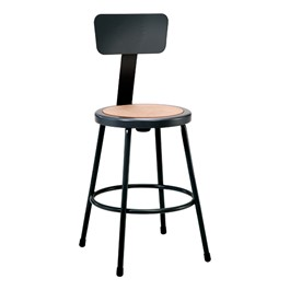 """6200-10 Black Stool w/ Backrest - Fixed Height (24\"""" H)"""