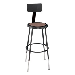 "6200-10 Black Stool w/ Backrest - Adjustable Height (25"" - 33\"" H)"
