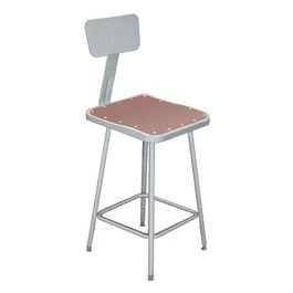 "6300 Square Stool w/ Backrest – Fixed Height (24"" H)"