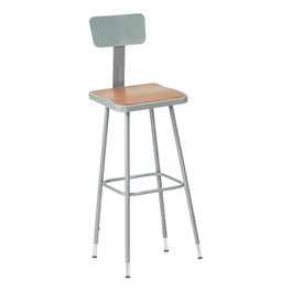 "6300 Square Stool w/ Backrest –  Adjustable Height (19"" - 27\"" H)"