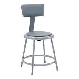 "6400 Padded Stool w/ Backrest - Fixed Height (18"" H)"