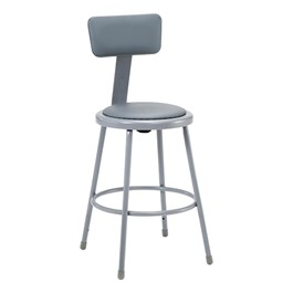 "6400 Padded Stool w/ Backrest - Fixed Height (24"" H)"