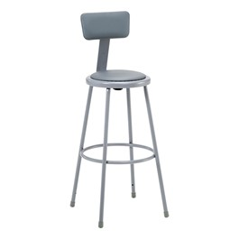 """6400 Padded Stool w/ Backrest - Fixed Height (30\"""" H)"""