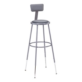 "6400 Padded Stool w/ Backrest -  Adjustable Height (31"" - 39\"" H)"