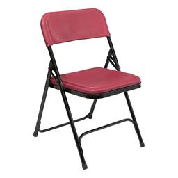 800 Series Plastic Folding Chair - Burgundy seat w/ black frame
