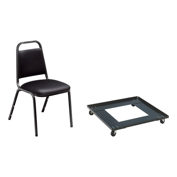 9100 Series Stack Chairs & Dolly Package - Black vinyl