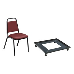 9100 Series Stack Chairs & Dolly Package - Burgundy