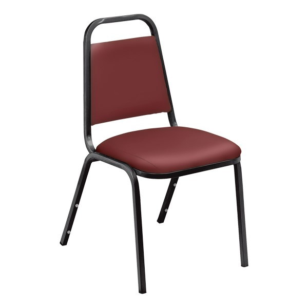 9100 Stack Chair - Burgundy vinyl w/ black frame