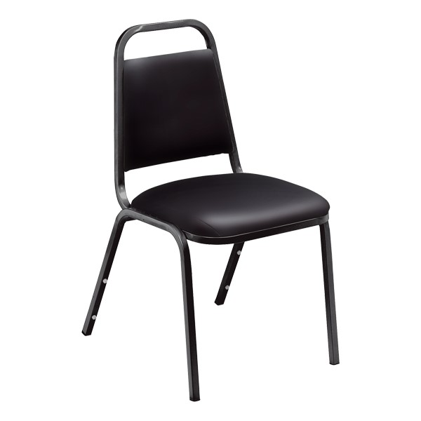 9100 Stack Chair - Black vinyl w/ black frame