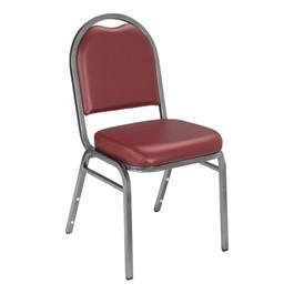 9200 Stack Chair - Vinyl Upholstered Seat - Burgundy vinyl w/ Silvervein frame