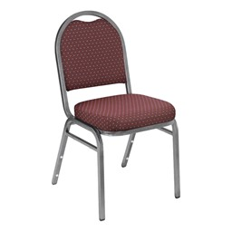 9200 Stack Chair - Fabric Upholstered Seat - Burgundy patterned w/ Silvervein frame