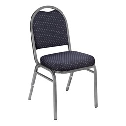 9200 Stack Chair - Fabric Upholstered Seat - Navy patterned fabric w/ Silvervein frame