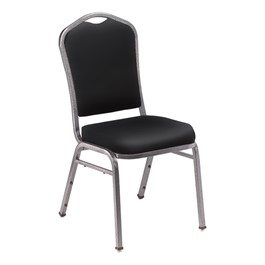 9300 Stack Chair - Vinyl Upholstered Seat - Black vinyl w/ Silvervein frame