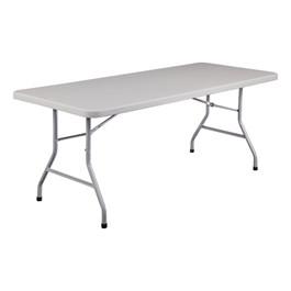 """Lightweight Plastic Top Folding Table (30\"""" W x 72\"""" L)"""