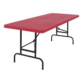Colorful Plastic Folding Table w/ Adjustable Height - Shown in red