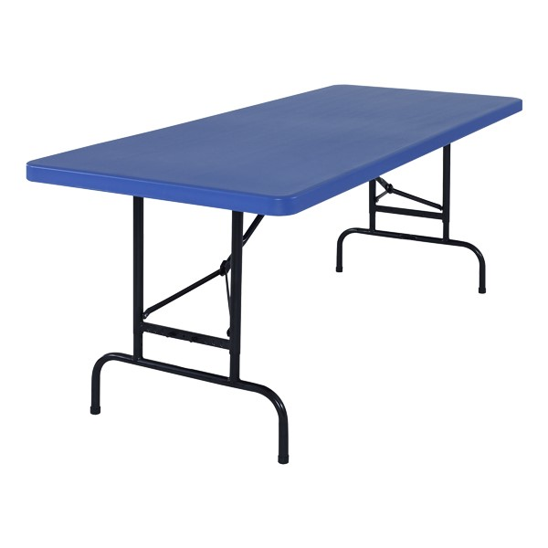Colorful Plastic Folding Table w/ Adjustable Height - Shown in blue
