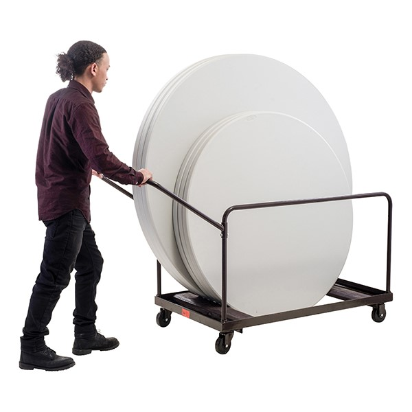 Edge-Stacking Round Folding Table Truck