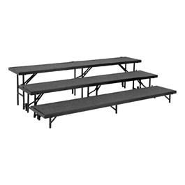 Straight Standing Choral Risers w/ Carpet Deck - Three Level