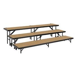 Straight Standing Choral Risers w/ Hardboard Deck - Three Level