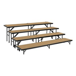 Straight Standing Choral Risers w/ Hardboard Deck - Four Level