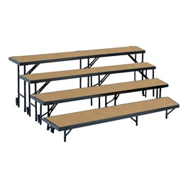 Tapered Standing Choral Risers w/ Hardboard Deck - Four Level