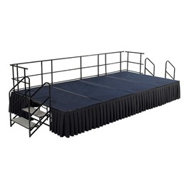 Rectangle Portable Stage Set w/ Carpet Deck & Accessories