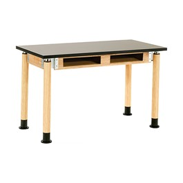 Adjustable-Height Science Table w/ Chem-Resistant Top & Book Compartments - Oak