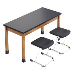 "SLT Series Science Lab Table (60"" W x 24"" D x 30"" H) w/ Two Z Stools (18""H)"