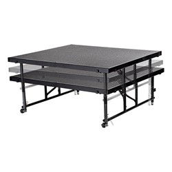 "Transfix Adjustable-Height Portable Stage w/ Hardboard Deck (24"" or 32"" H) - Adjustability - Shown w/ carpet deck"
