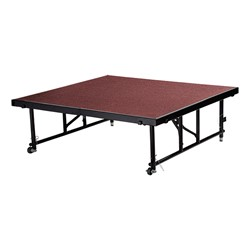 "Transfix Adjustable-Height Portable Stage w/ Carpet Deck (16"" or 24"" H) - Red"