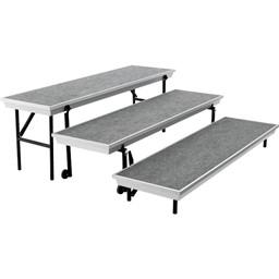 "Transport Straight Choral Risers w/ Carpet Deck - Straight (6' L x 24"" H)"