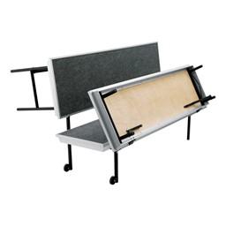 "Transport Straight Choral Risers w/ Carpet Deck - Straight (6' L x 24"" H) - Folding process shown"