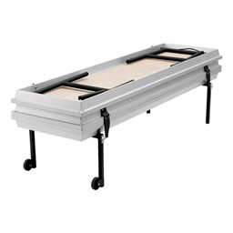 """Transport Straight Choral Risers w/ Carpet Deck - Straight (6' L x 24"""" H) - Shown folded"""