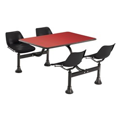 Cluster Seating w/ Laminate Top - Red top & black seats