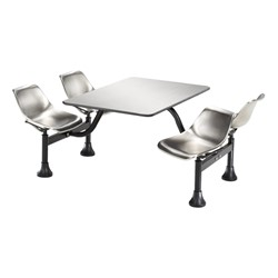 Cluster Cafeteria Seating w/ Stainless Steel Top - Stainless steel seats