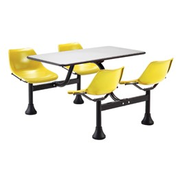 Cluster Cafeteria Seating w/ Stainless Steel Top - Yellow seats