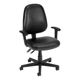 Antimicrobial Vinyl Task Chair w/ Arm Rests - Black