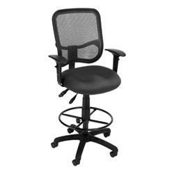 ComfySeat Mesh-Back Posture Drafting Stool w/ Arm Rests - Gray
