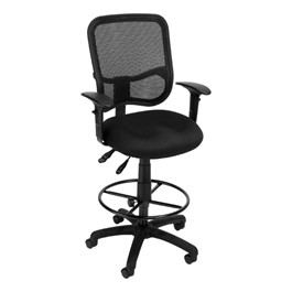 ComfySeat Mesh-Back Posture Drafting Stool w/ Arm Rests - Black