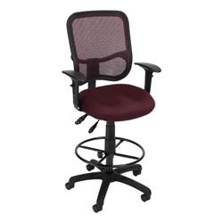 ComfySeat Mesh-Back Posture Drafting Stool w/ Arm Rests - Wine