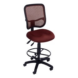 ComfySeat Mesh-Back Posture Drafting Stool w/out Arm Rests - Wine