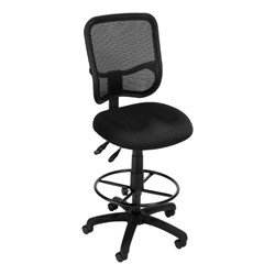 ComfySeat Mesh-Back Posture Drafting Stool w/out Arm Rests - Black shown