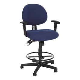 24-Hour Use Drafting Stool w/ Arm Rests - Blue