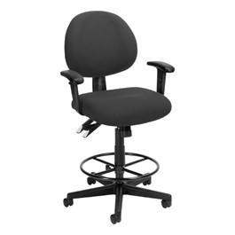 24-Hour Use Drafting Stool w/ Arm Rests - Charcoal
